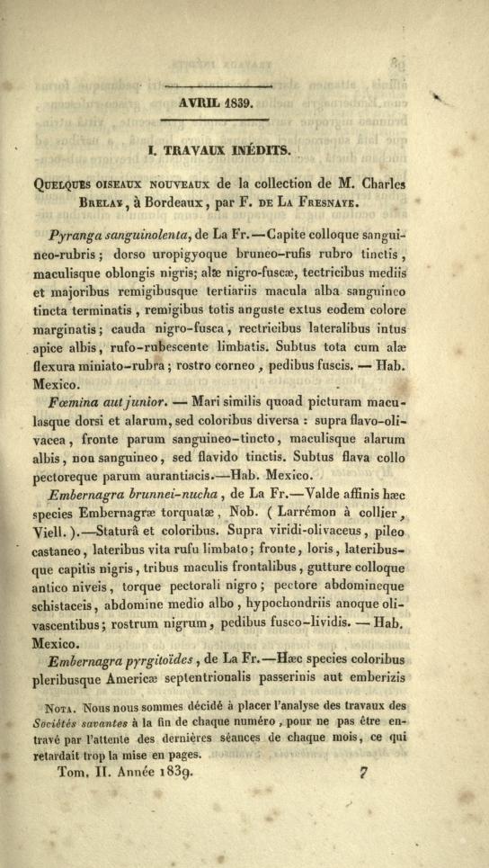 I. Travaux Inedits. Quelques Oiseaux Nouveaux de la Collection de M. Charles Brelay, a Bordeaux