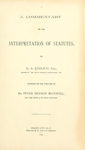 Download A commentary on the interpretation of statutes