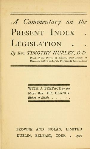 A commentary on the present Index legislation.