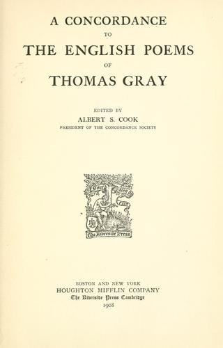 Download A concordance to the English poems of Thomas Gray