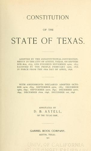 Constitution of the State of Texas.