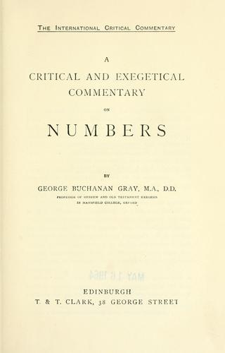 A critical and exegetical commentary on Numbers.