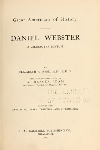 Daniel Webster, a character sketch