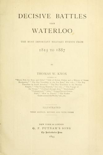 Download Decisive battles since Waterloo