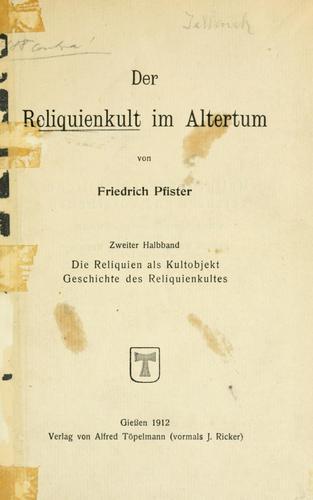 Der Reliquienkult im Altertum