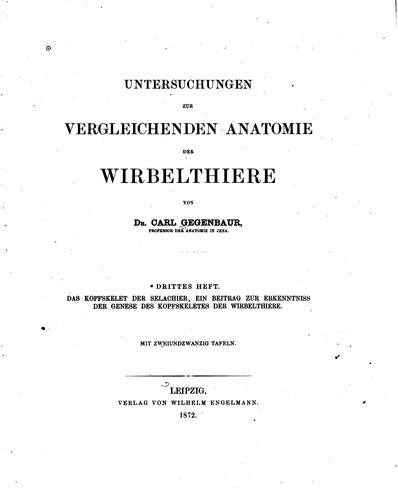Untersuchungen zur vergleichenden Anatomie der Wirbelthiere