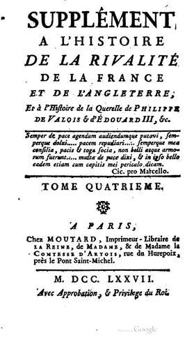 Supplément à l'Histoire de la rivalité de la France et de l'Angleterre