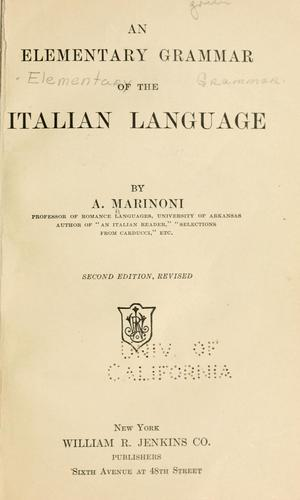 Download An elementary grammar of the Italian language