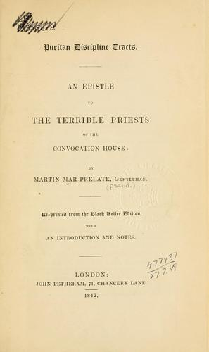An epistle to the terrible priests of the convocation house.