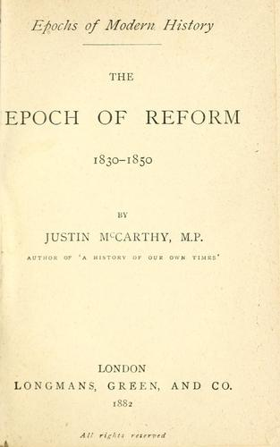 The epoch of reform, 1830-1850