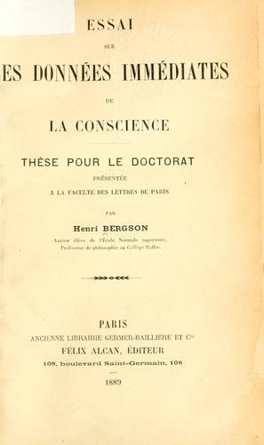 Download Essai sur les données immédiates de la conscience.