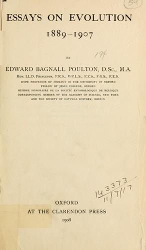 Essays on evolution 1889-1907.