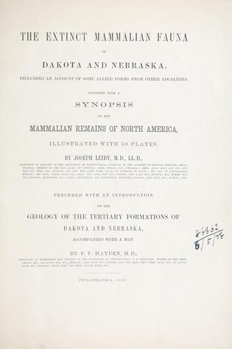 Download The extinct mammalian fauna of Dakota and Nebraska