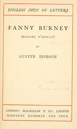 Fanny Burney (Madame dArblay)