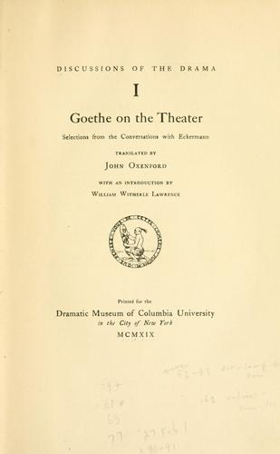 Goethe on the theater