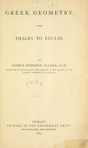 Download Greek geometry from Thales to Euclid.