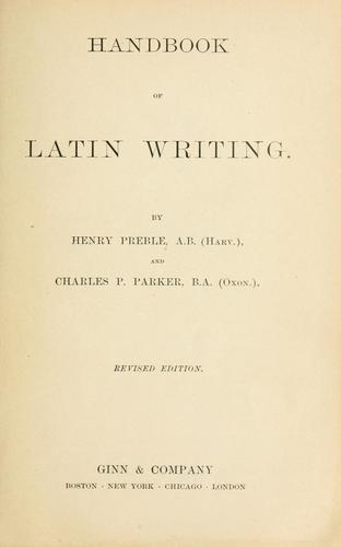 Download Handbook of Latin writing.