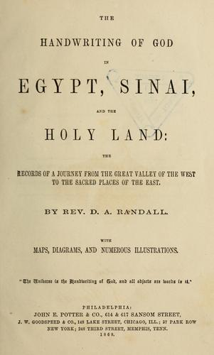 Download The handwriting of God in Egypt, Sinai, and the Holy Land
