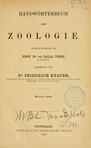 Handwörterbuch der Zoologie.