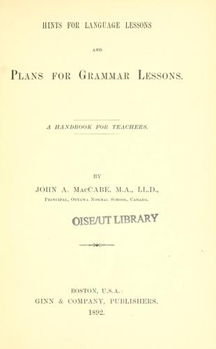 Download Hints for language lessons and plans for grammar lessons