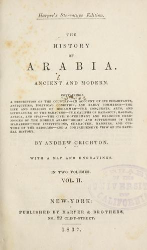 Download The history of Arabia, ancient and modern …