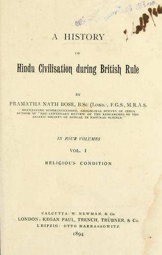 Download A history of Hindu civilisation during British rule