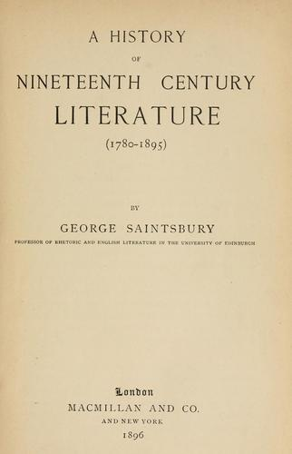 Download A history of nineteenth century literature (1780-1895)