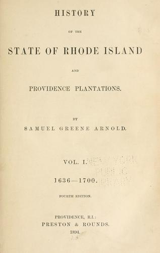 Download History of the state of Rhode Island & Providence plantations.