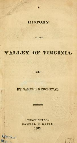 Download A history of the valley of Virginia