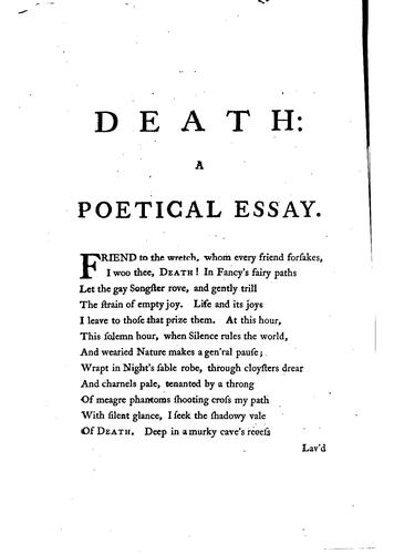 Death: a poetical essay by Beilby Porteus