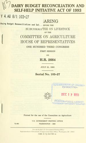 Dairy Budget Reconciliation and Self-Help Initiative Act of 1993