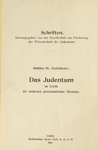 Das Judentum im Urteile der modernen protestantischen Theologie.