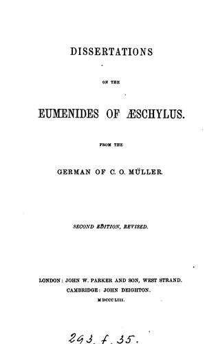 Dissertations on the Eumenides of Æschylus by Karl Otfried Müller