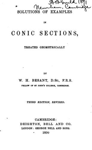 Solutions of Examples in Conic Sections by William Henry Besant